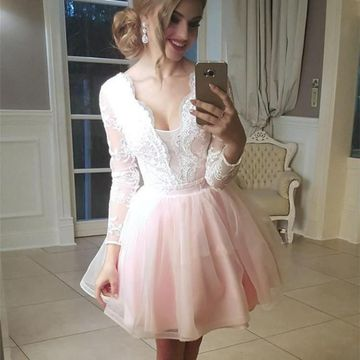 87ef73f56387 49%OFF Pink V-neck Long Sleeves Lace 2019 Homecoming Dress A-line ...