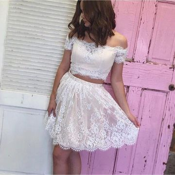 White Off the Shoulder Lace A-line 2019 Homecoming Dress Two Piece