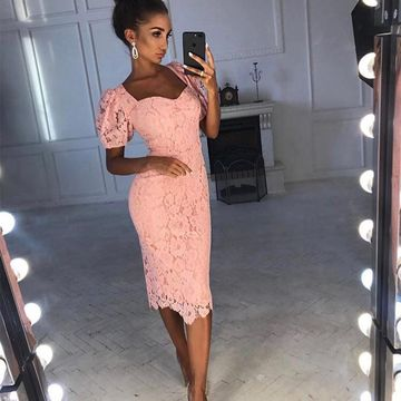 Pink Short Sleeves Sheath Lace 2020 Prom Dress