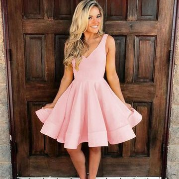 Pink V-neck Sleeveless A-line 2019 Homecoming Dress