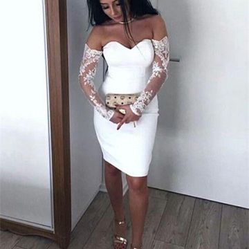 White Long Sleeves Sweetheart Lace Sheath 2019 Homecoming Dress