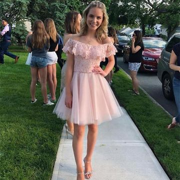 Pink Off the Shoulder A-line 2019 Homecoming Dress Lace