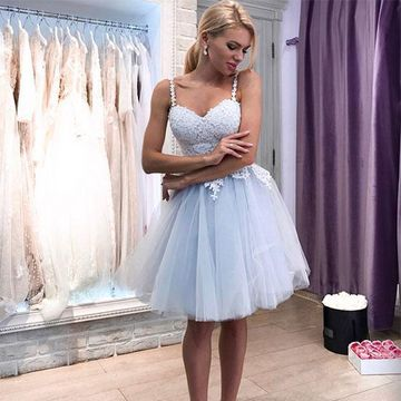 Spaghetti Straps Appliques Lace A-line 2019 Homecoming Dress