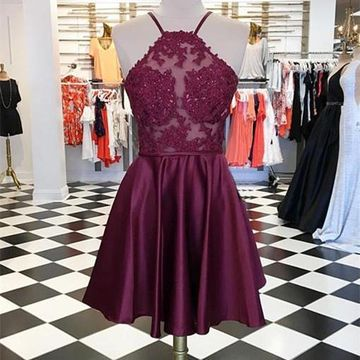 Burgundy Spaghetti Straps Lace A-line 2020 Homecoming Dress Sleeveless