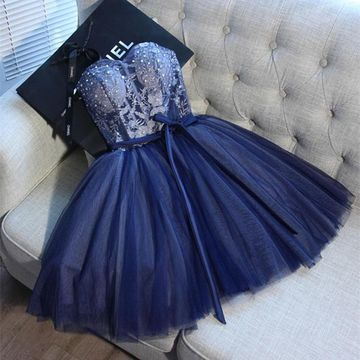 Dark Navy Sweetheart Appliques Lace 2020 A-line Homecoming Dress Sleeveless