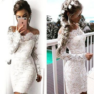 White Off the Shoulder Long Sleeves Sheath 2019 Homecoming Dress Lace