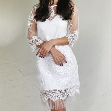 White Half Sleeves Sheath Lace 2019 Homecoming Dress