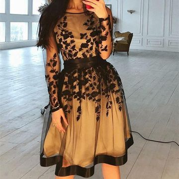 Round Neck Long Sleeves A-line 2019 Homecoming Dress