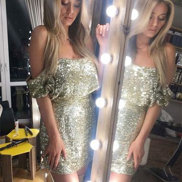 Gold Off the Shoulder Sheath Sequins 2020 Homecoming Dress