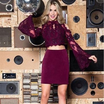 Burgundy Long Sleeves Sheath Lace 2019 Two Piece Homecoming Dress