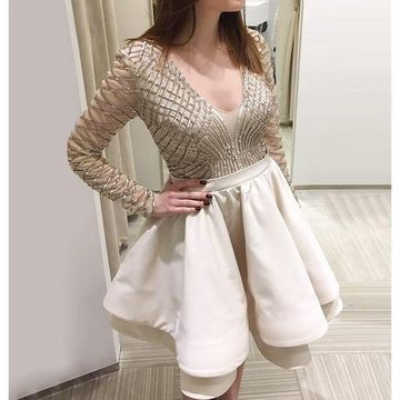White V-neck Long Sleeves A-line Beading 2019 Homecoming Dress