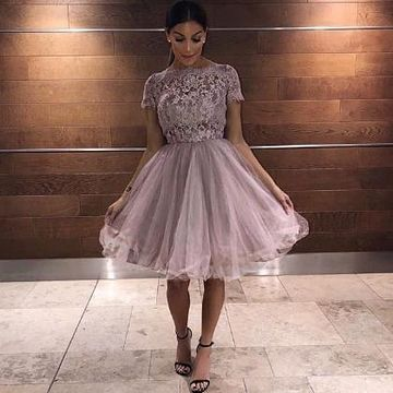 Pink Off the Shoulder Lace A-line 2020 Homecoming Dress