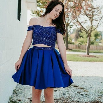 dd713fa0be0 49%OFF Royal Blue Off the Shoulder Beading A-line 2019 Two Piece ...