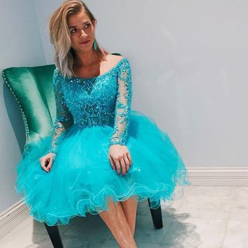 Blue Scoop Long Sleeves Beading A-line 2019 Homecoming Dress