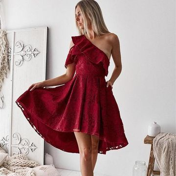 Burgundy One Shoulder A-line High Low 2019 Homecoming Dress Lace