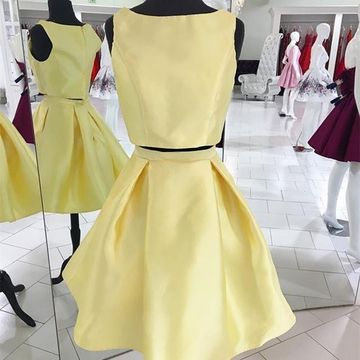 Yellow Round Neck Sleeveless A-line 2019 Two Piece Homecoming Dress