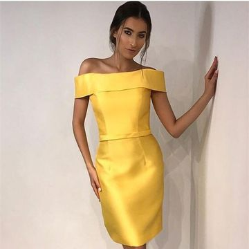 Yellow Off the Shoulder Sheath 2019 Homecoming Dress