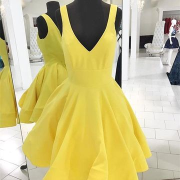 Yellow Simple V-neck Sleeveless A-line 2019 Homecoming Dress
