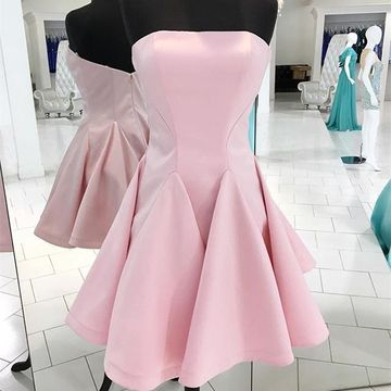 Pink Simple Strapless A-line 2020 Homecoming Dress Sleeveless