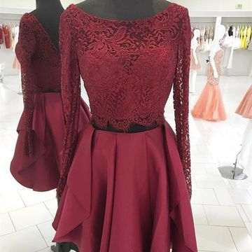 Burgundy Scoop Long Sleeves A-line 2019 Two Piece Homecoming Dress Lace
