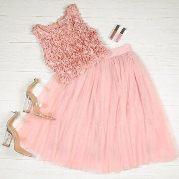 Pink Sleeveless A-line Tulle 2019 Homecoming Dress Two Piece