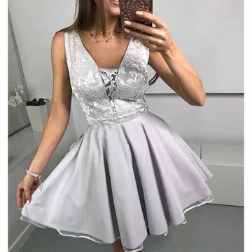 Grey V-neck Lace A-line 2019 Homecoming Dress Sleeveless