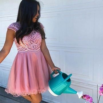 Pink Round Neck Lace A-line 2019 Homecoming Dress