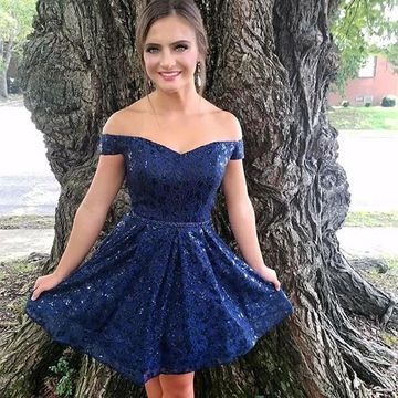 Dark Navy Off the Shoulder Lace A-line 2020 Homecoming Dress