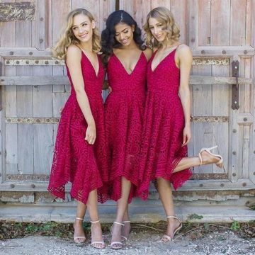 Red V-neck A-line Lace 2019 Bridesmaid Dress