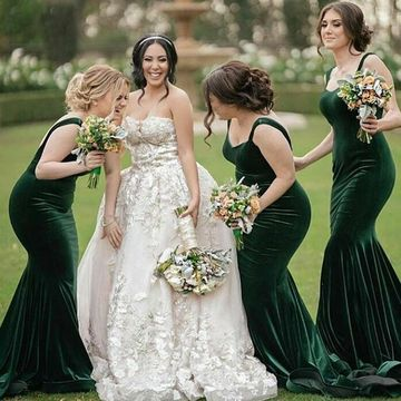 fb34c55429e6 49%OFF Green Straps Sweetheart Velvet Mermaid 2019 Bridesmaid Dress ...