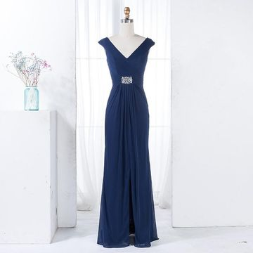 Dark Blue V-neck Capped Sleeves Sheath Chiffon 2019 Bridesmaid Dress