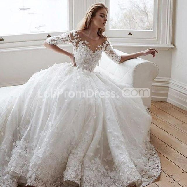 49off Half Sleeves Appliques Flowers Lace A Line 2019 Wedding Dress