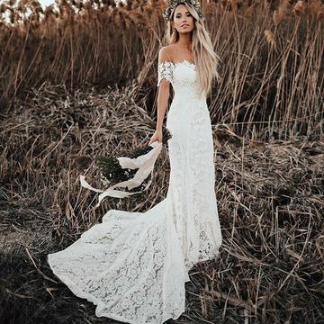 49 Off Off The Shoulder Sheath Lace 2019 Beach Wedding Dress Vintage