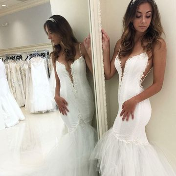ddbbe481cd38 49%OFF Spaghetti Straps Lace Mermaid 2019 Wedding Dress V-Neck Open ...