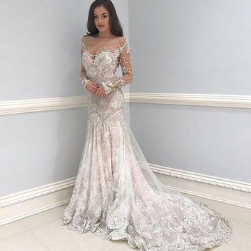 6e6384608551 49%OFF Illusion Long Sleeves Appliques Lace Mermaid 2019 Wedding ...
