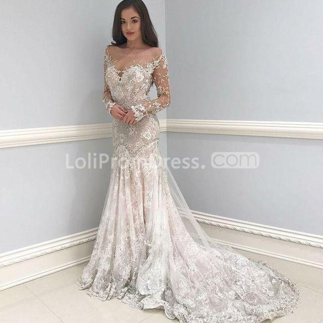 49%OFF Illusion Long Sleeves Appliques Lace Mermaid 2019