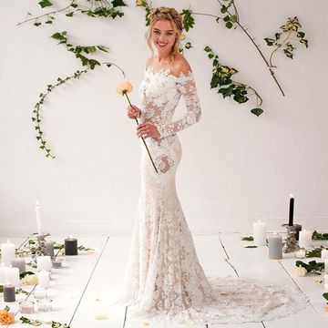 1369a3b9806 49%OFF Off the Shoulder Long Sleeve Mermaid 2019 Lace Wedding Dress ...