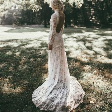 Vintage High Neck Long Sleeves Backless 2020 Mermaid Lace Wedding Dress Open Back