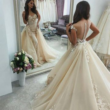 6252bf7b54e 49%OFF V-neck Illusion Capped Sleeves Lace A-line 2019 Wedding Dress ...