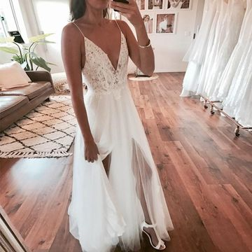 Spaghetti Straps Deep V-neck Split Front Lace 2019 A-line Wedding Dress Open Back