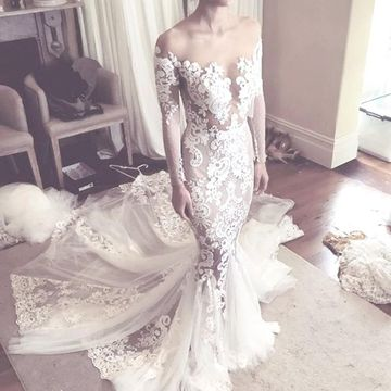 Illusion Round Neck Long Sleeves Appliques Lace 2020 Mermaid Wedding Dress