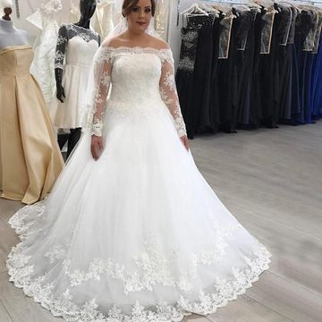 49%OFF Off the Shoulder Long Sleeves Lace A-line 2019 Wedding Dress ...
