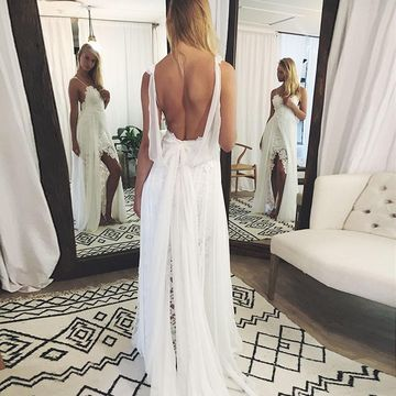 Spaghetti Straps Lace Split Front A-line 2019 Beach Wedding Dress Chiffon Sexy