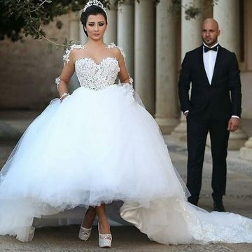 Illusion Long Sleeves Appliques Lace A-line 2020 Wedding Dress