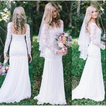 Round Neck Long Sleeves Lace Mermaid 2019 Beach Wedding Dress