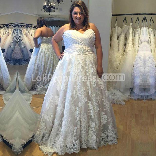 Discount Gothic Lace Wedding Dresses 2019 Plus Size A Line: 49%OFF Sweetheart Sleeveless Ruched Lace A-line 2019 Plus