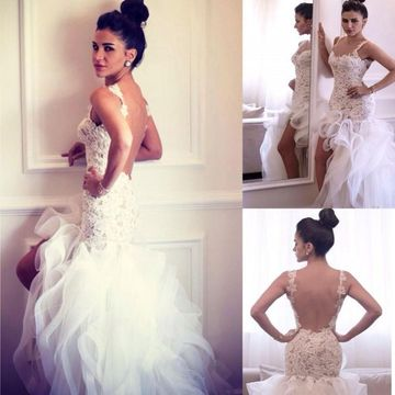 Straps Lace Appliques Mermaid Tiers 2019 Wedding Dress Open Back