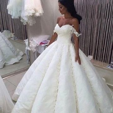 Off the Shoulder Lace Ball Gown 2019 Wedding Dress
