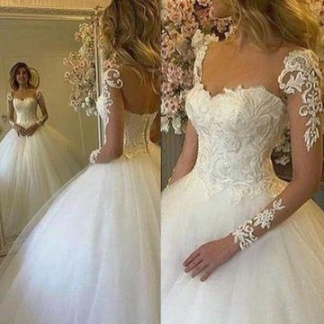 Illusion Long Sleeves Lace Ball Gown 2019 Wedding Dress