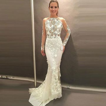 Illusion Long Sleeves Backless Lace Mermaid 2019 Wedding Dress Open Back